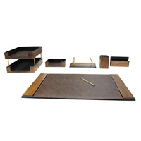 Akyazi Prestige Walnut Desk Set (Set of 8 )