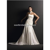 A-Line Sweetheart Floor Length Strapless Bridal Gown