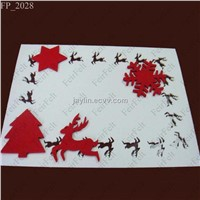 Christmas design polyester felt placemats and coasters set