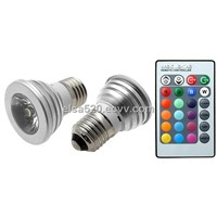 3W 4W E27 RGB LED Bulb 16 Color Change Lamp spotlight 110-245v