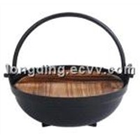 wooden cover aluminum pot
