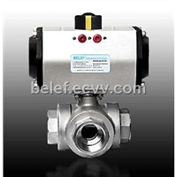 3-way ball valve with pneumatic actuator