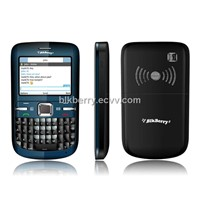 "BLK berry B9806 Low-end price,FM,2.2""display screen,Qwerty keypad board, Double big speaker,Facebook"