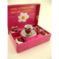 Ceramic/pocerlain Coffee cup and saucer sets with gift box