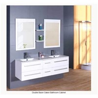 Double Basin Oaken Bathroom Cabinet