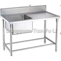 stainless steel one bowl sink table with drainboard