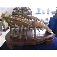 "Wood Carving (green sandalwood""big Lobster"") woodcarving"