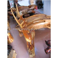 Wood Carving Camphor (Tea Table and Deer) woodcarving