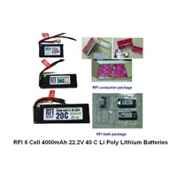 RC hardcase car batteries/ sonic battery,RFI 6 Cell 4000mAh 22.2V 40 C Li Poly Lithium Batteries