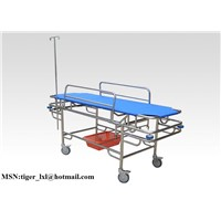 Tilted stainless steel stretcher trolley(anticollision)B-9