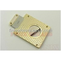 Cigar Cutters All Stainless Steel in Golden Diamond Texture Surface