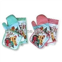 3-piece Kitchen Set, Made of 100% Cotton, Customized Designs are Accepted