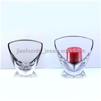 Clear Glass Triangle Candle Holder