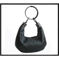 Black Mesh Bag with Metal Ring Handle