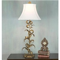 Antique Florentine Gilded Leaf Table Lamp