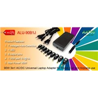 90W 3in1 AC/DC Universal Laptop Adapter for Home, Car and Airplane Use