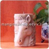 Beeswax Candle Embossed with Horsehead