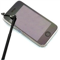 Black Retractable Aluminum Stylus Touch Pen for iPad/iPhone 4/iPhone 3G 3GS
