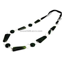 Fashion Necklace - Green Color Poly Resin Beads