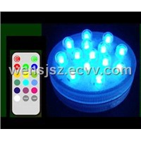 Waterproof LED Light with Remote Control--14 LED Multicolor