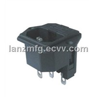 AC POWER PLUG WITH FUSE,LONG PLASTIC FOOT,LZ-14-F7