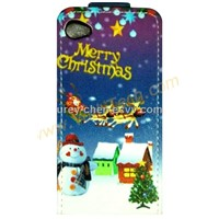 Merry Christmas Snowman Hard Skin Cover Shell For iPhone 4G