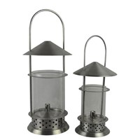 Set of two Stainless steel cylinder oil lamp
