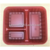 plastic food tray three compartment