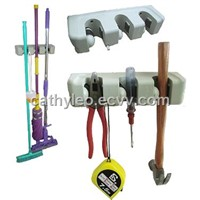(LDY0301)Manufacturer Price$1.7/piece Patent Product 3 Slots mop holder, wall hook & tool organizer