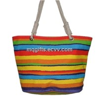 Colorful Strips Canvas Bags, Canvas Tote Bags with Snaps