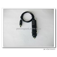 ABS 12 volt 5A cigarette plug to DC or USB connector for digital products made of 100% pure material