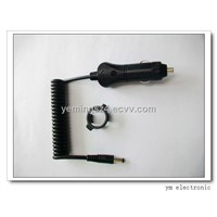 Black A13 cigarette plug to DC connector with PU coiled wire for cell phones