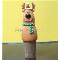 Christmas deer wine bottle stopper parts