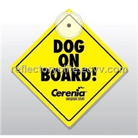 Dog on board sign for car, car window sign