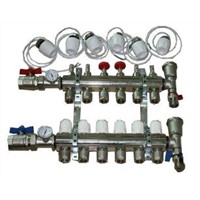 Floor heating water distribution manifold