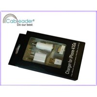 High Performance Apple Accessories - 3 in 1 Charger Kits for iPhone 4G/3GS/iPod