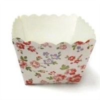 Square Cake Cup Garden Flower Decorative Cupcake Wrappers