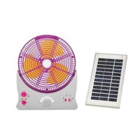 10 Inches Solar Rechargeable Desk Fan with LED Light, Spotlight and 4 to 5 Hours Working Time