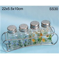 5pcs decal glass spice jar set with metal stand