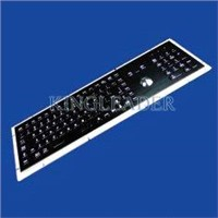 Black panel mount PS/2 or USB metal keyboard with trackball and number keypad