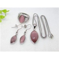Elegant Style Light Pink Stainless Steel Murano Glass Jewelry Sets  1900014