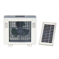 Emergency Lantern Solar Box Fan with Solar Panel and LED Light