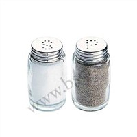 Glass salt and shaker pepper