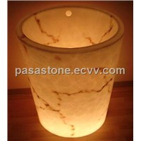 Translucent alabaster basins and sink