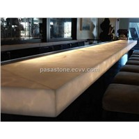 Translucent alabaster stone panel for bar top application