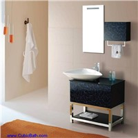 Bath vanity with glass door and sink vessel-9973