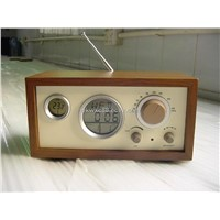 FM Digital Display Alarm Clock Wooden Radio