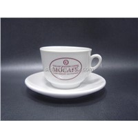 Porcelain Espresso Cup and Saucer with Logo Printing, Promotion Coffee Set