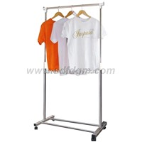 Stainless Steel Single-Rail Garment Rack Stand