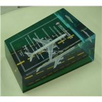 lucite paperweight with airplane embed